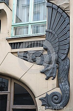 Bas-relief of a dragon on a facade  building