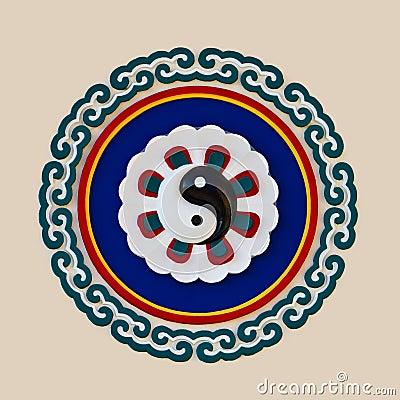 Bas-relief sculpture of Yin yang symbol
