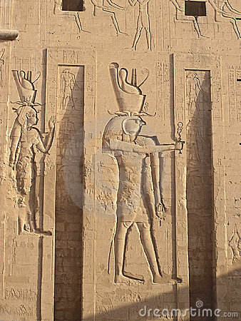 Bas reliefs on Edfu temple - god Edfu