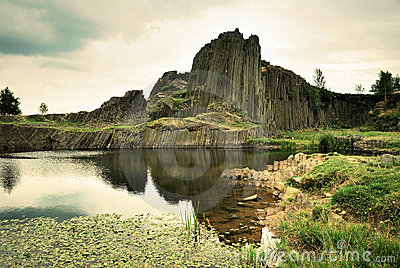 Basalt rock and pond