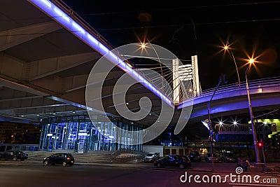 Basarab Bridge illuminated in the night