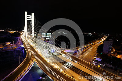 Basarab bridge in the night with cars on the bridge Editorial Image