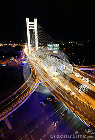 Basarab bridge in the night with cars on the bridge Editorial Photography