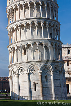 Base detail of Leaning tower of Pisa, Italy