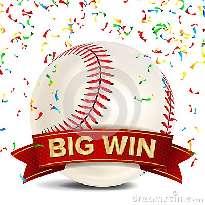 Free Baseball Award Vector. Red Ribbon. Big Sport Game Win Banner Background. White Ball, Red Stitches. Confetti Falling Stock Image - 103991291