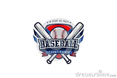 Baseball Badge Logo Design Vector T Shirt Sport Team Label Cartoon