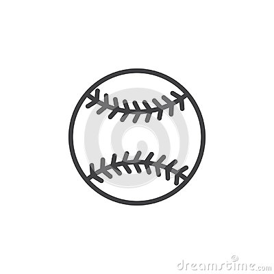 Baseball ball line icon, outline vector sign, linear style pictogram isolated on white. Vector Illustration