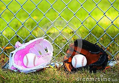 Baseball. Balls in Gloves on Green Grass. Female vs Male