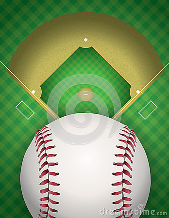 Baseball and Baseball Field Illustration