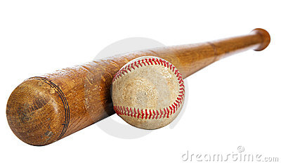 Baseball bat and ball