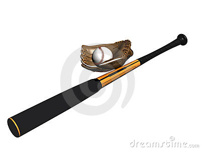 Baseball bat ball and glove