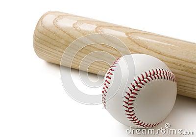 Baseball bat and baseball on white