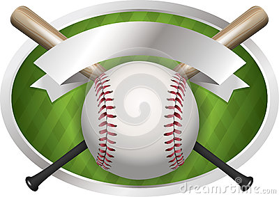Baseball and Bat Emblem Illustration