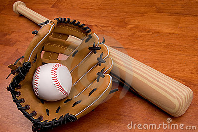 Baseball bat,mitt and ball