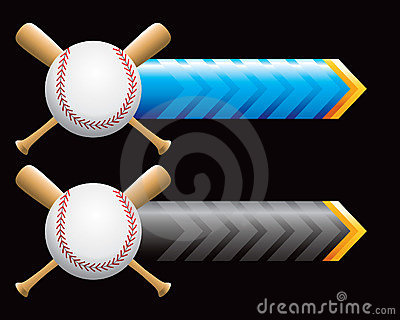 Baseball and bats on blue and black arrows