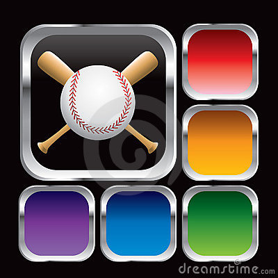 Baseball and bats in multicolored web buttons