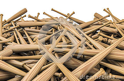 Baseball bats pile
