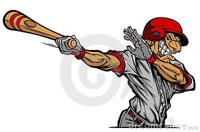 Baseball Batter Hitting Cartoon Vector image