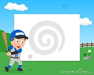 Baseball Boy in the Park Horizontal Frame Vector Illustration