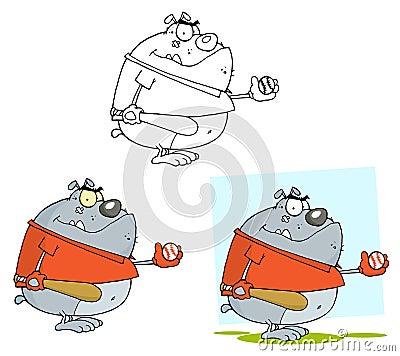 Baseball bulldog cartoon character