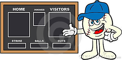 Baseball Cartoon Mascot Showing A Scoreboard