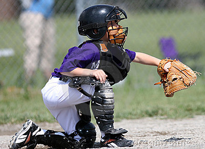 Baseball Catcher catching ball