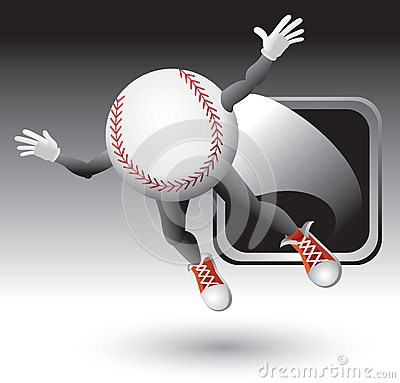 Baseball character flying out of silver frame