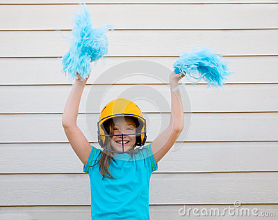 Baseball cheerleading pom poms girl happy smiling