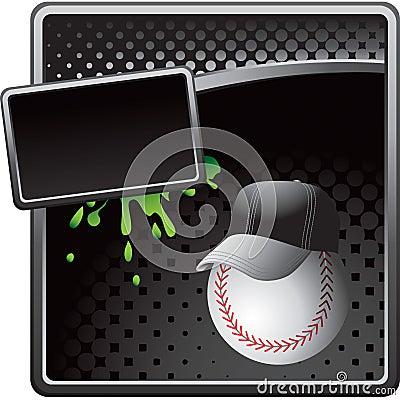 Baseball coach on black halftone advertisement