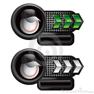 Baseball coach on green and white arrow banners