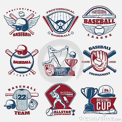 Baseball Colored Emblems Vector Illustration
