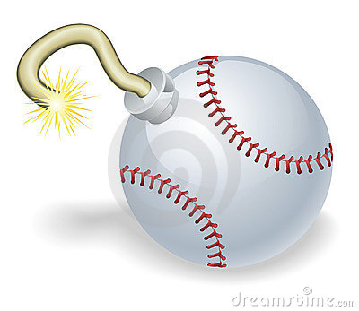 Baseball countdown bomb illustration