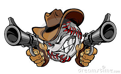 Baseball Cowboy Illustration Logo Royalty Free Stock Image