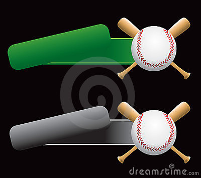 Baseball and crossed bats on green and silver tabs