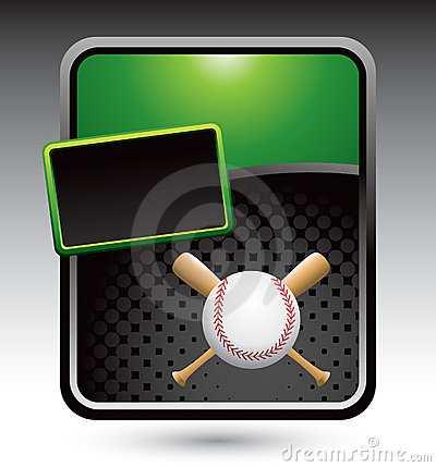 Baseball and crossed bats on green stylized ad