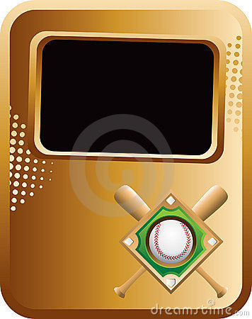 Baseball diamond and bats on gold banner