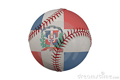 Baseball with the Dominican Republic Flag