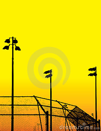 Baseball field silhouettes