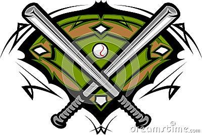 Baseball Field with Softball Bats Template