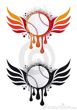 Baseball with fire wings,