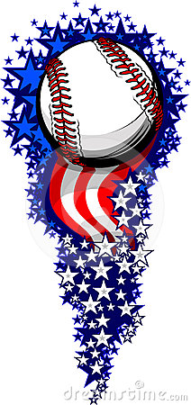 Free Baseball Firework With Flags And Stars Royalty Free Stock Image - 24348386