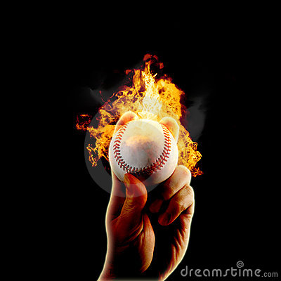 Free Baseball Flames Fire Hand Stock Photography - 11664682