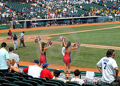 Baseball game cheerleaders Editorial Photo