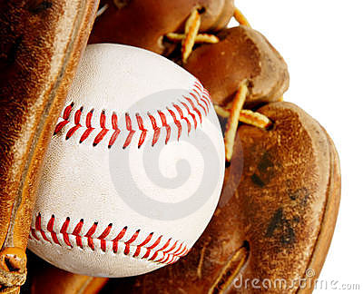Baseball with glove