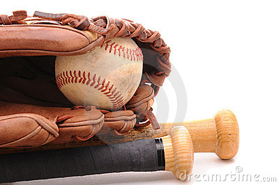 Baseball Glove ball and two bats on white