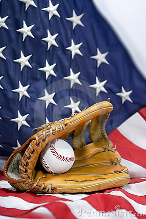 Baseball Glove, Ball & USA Flag - vertical