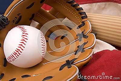 Baseball glove,bat and ball