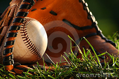 Baseball and glove closeup