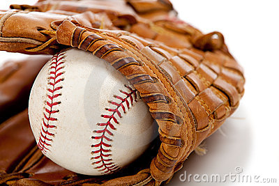 Baseball glove or mitt and ball
