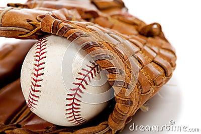 Baseball glove or mitt and ball